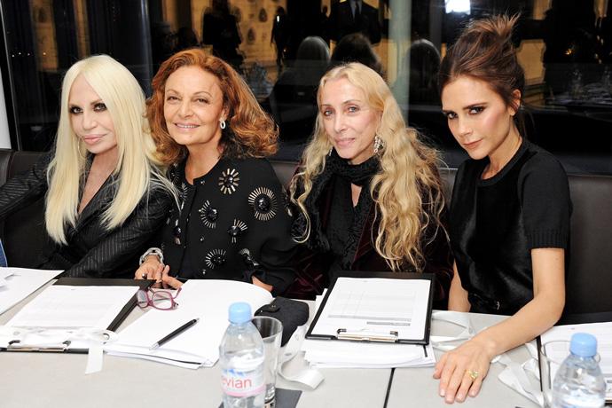 Donatella-Versace,-Diane-von-Furstenberg,-Franca-Sozzani-and-Victoria-Beckham-gather-to-judge-the-2013-International-Woolmark-Prize.