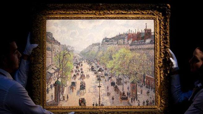 Camille-Pissarro's-Le-Boulevard-Montmartre,-matinee-de-printemps