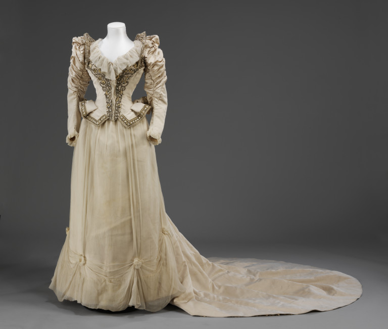 Embroidered corded silk wedding dress