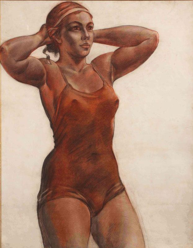 Sportswoman,-tying-a-ribbon-1951-Aleksandr-Deyneka