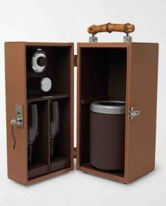 LORENZI MILANO. Full-Grain Leather and Bamboo Travel Champagne Cabinet. £2,605