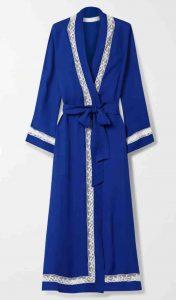 Loretta Caponi. Royal blue Lace-trimmed silk-georgette robe. £845