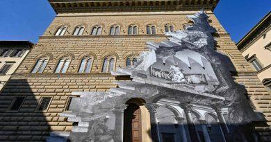 Инсталляция JR под названием «Рана» на фасаде палаццо