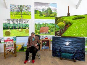 David Hockney in his studio in France  Credit: David Hockney; Jonathan Wilkinson