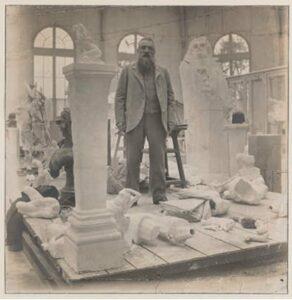 Rodin in his studio in Meudon c.1902.  Photo by Eugène Druet, Musée Rodin