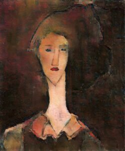 A re-creation of Modigliani's 'hidden' portrait of Beatrice Hastings, created by Oxia Palus using AI techniques