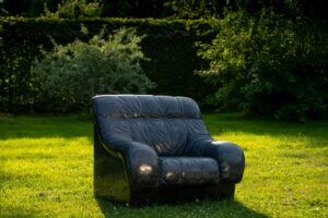 Ai Weiwei, Sofa in Black, 2011, marble.  Image courtesy of Jonty Wilde, the artist and Lisson Gallery, London