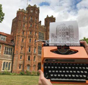 Художник Джеймс рисует Лондон при помощи печатной машинки