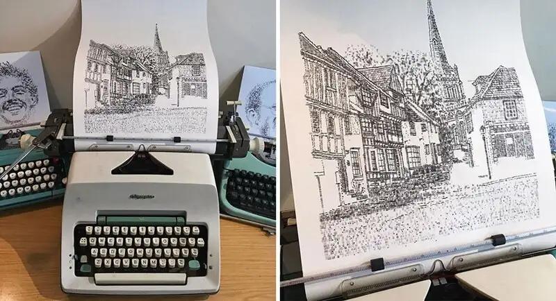 Художник рисует Лондон при помощи печатной машинки